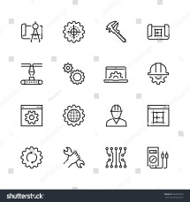 Engineering Manufacturing Vector Icon Set Thin Stock