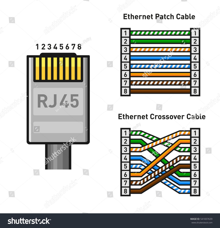 lan plug wiring diagram apollo xp95 addressable smoke detector ethernet connector pinout color code straight stock vector