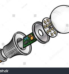 exploded diagram of an led light emitting diode lightbulb  [ 1500 x 1147 Pixel ]
