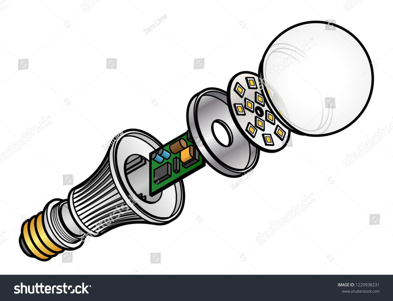 hight resolution of exploded diagram of an led light emitting diode lightbulb
