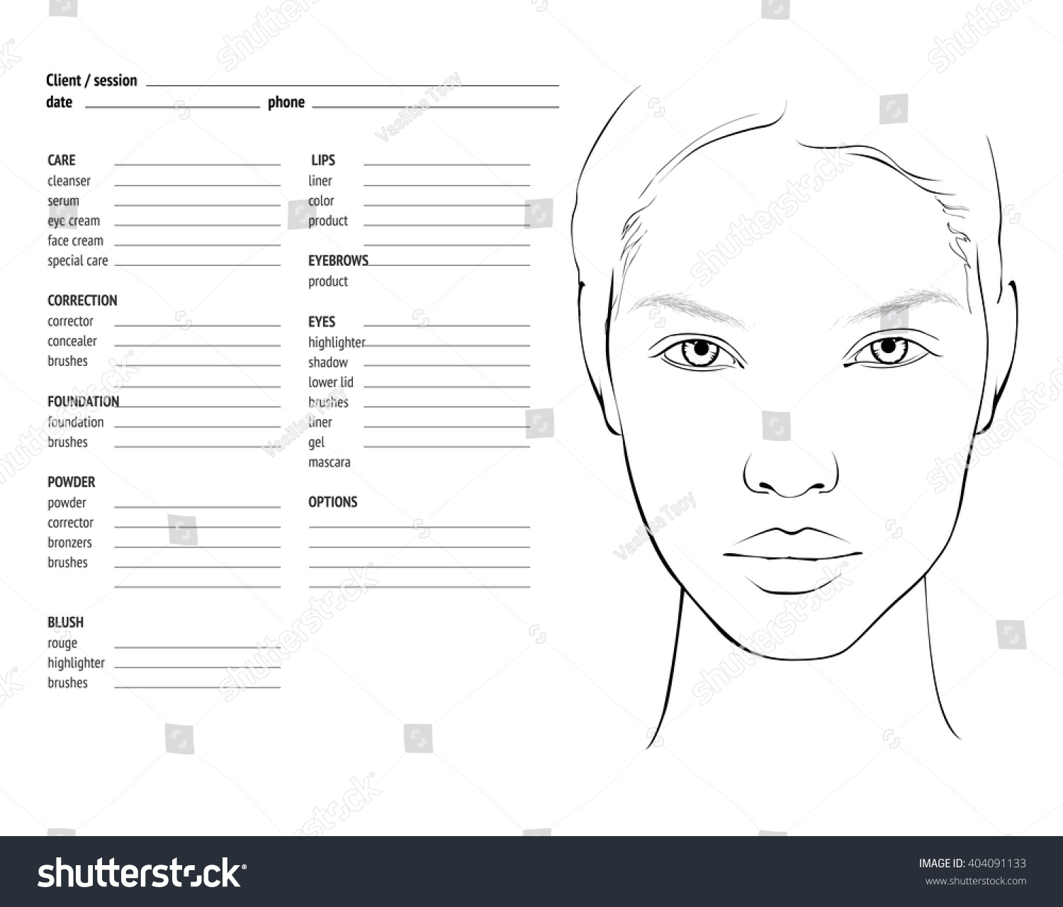 Face Chart Makeup Artist Blank Template Stock Vector
