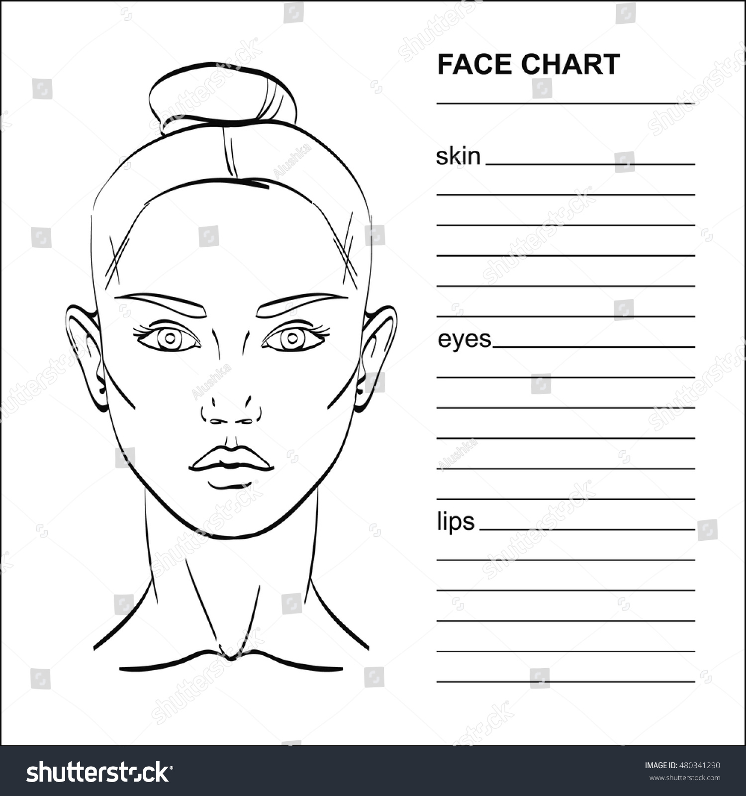 blank face diagram botox jeep tj wiring chart makeup artist vector stock