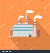 Factory Long Shadow Flat Style Industrial Stock Vector