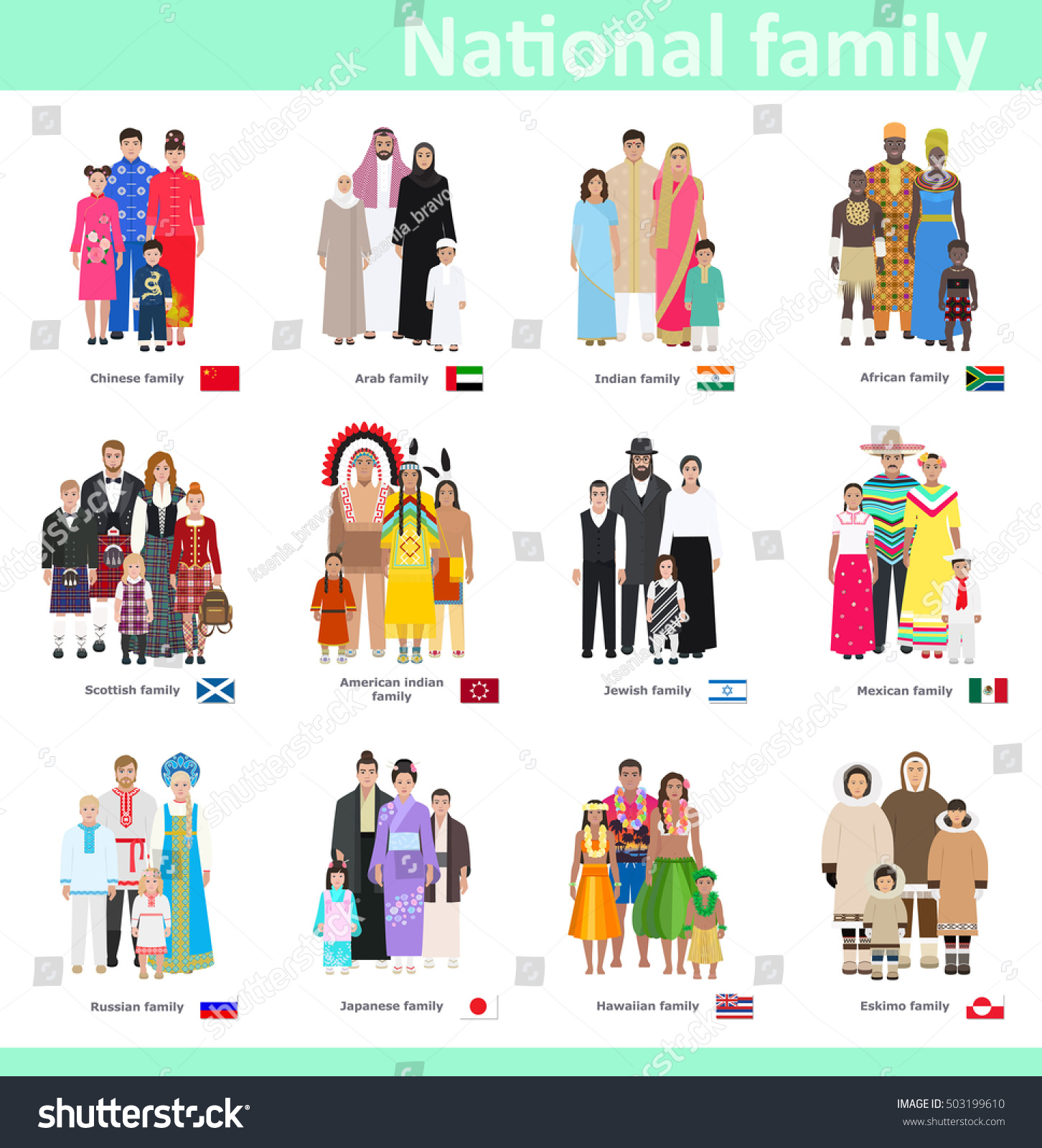 Families National Costume Different Countries Vector Stock
