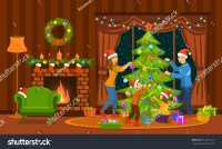 Family Decorating Christmas Tree Living Room Stock Vector ...