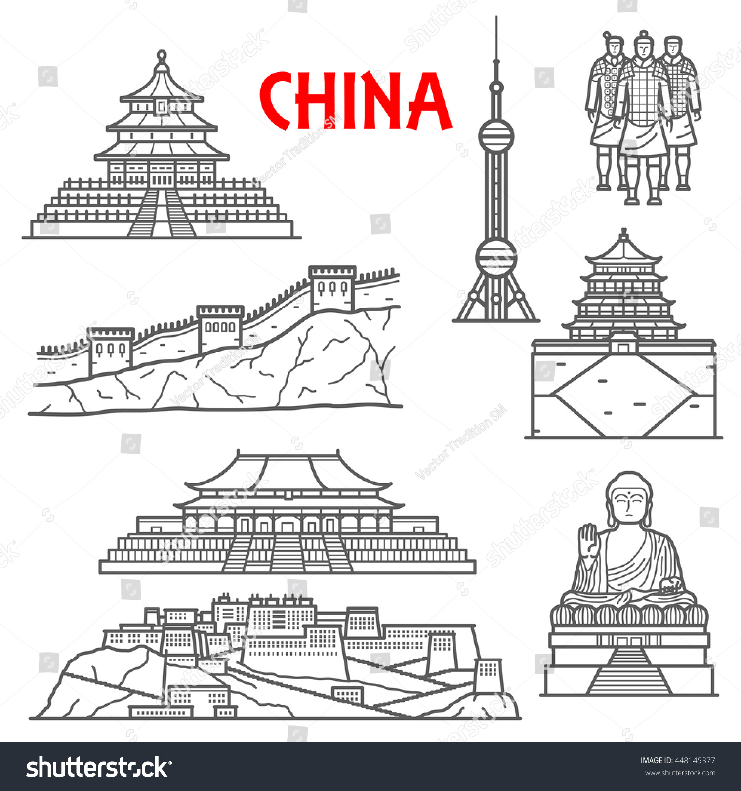 Famous Ancient China Landmarks Thin Line Stock Vector