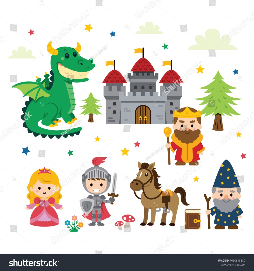 medium resolution of fantasy fairy tale clipart with different characters princess knight dragon wizard and king plus castle tree mushrooms flowers cloud and stars