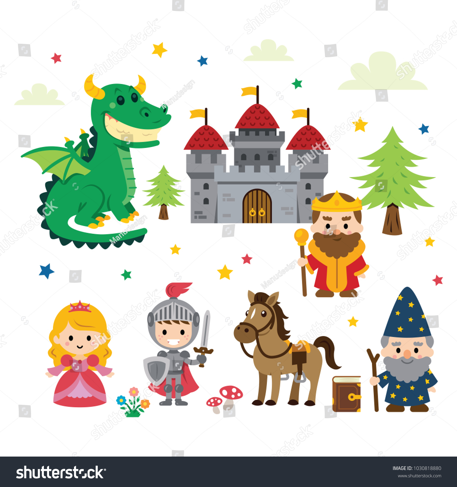 hight resolution of fantasy fairy tale clipart with different characters princess knight dragon wizard and king plus castle tree mushrooms flowers cloud and stars