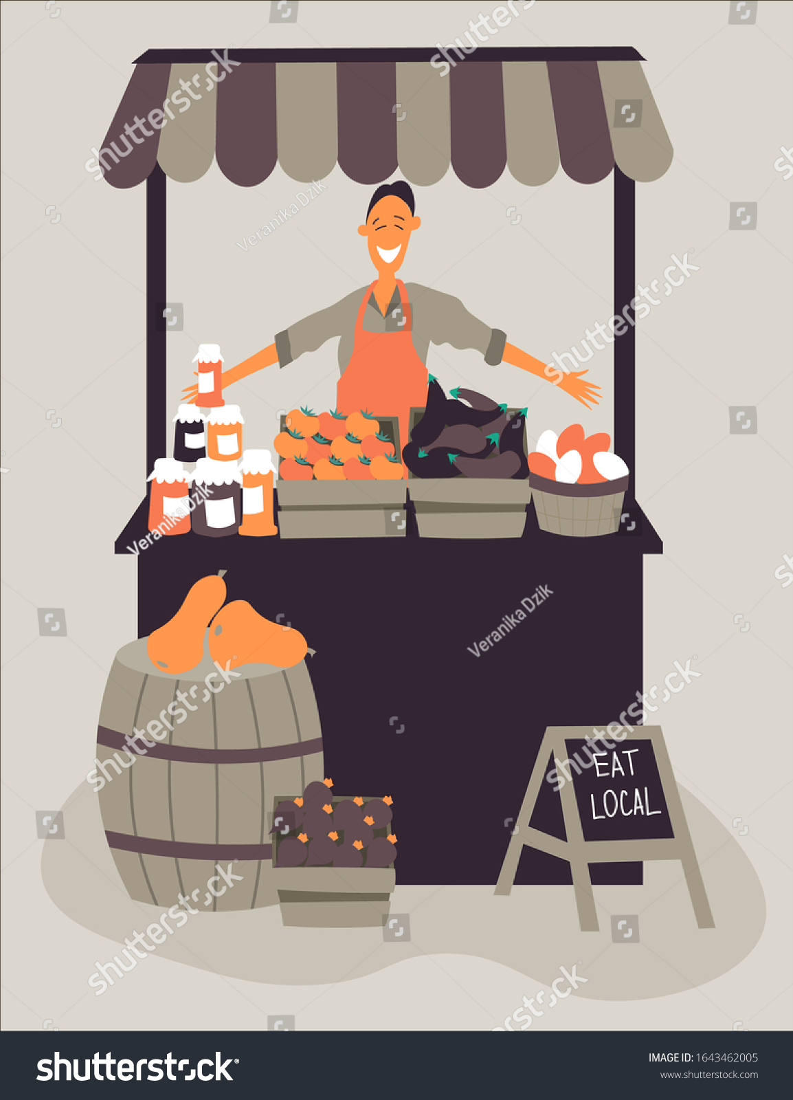 Cartoon Farmers Market : cartoon, farmers, market, Farmers, Market, Stand, Organic, Produce, Stock, Vector, (Royalty, Free), 1643462005
