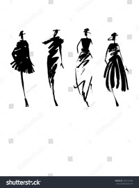 Fashion Models Silhouette Hand Drawn Stock Vector ...