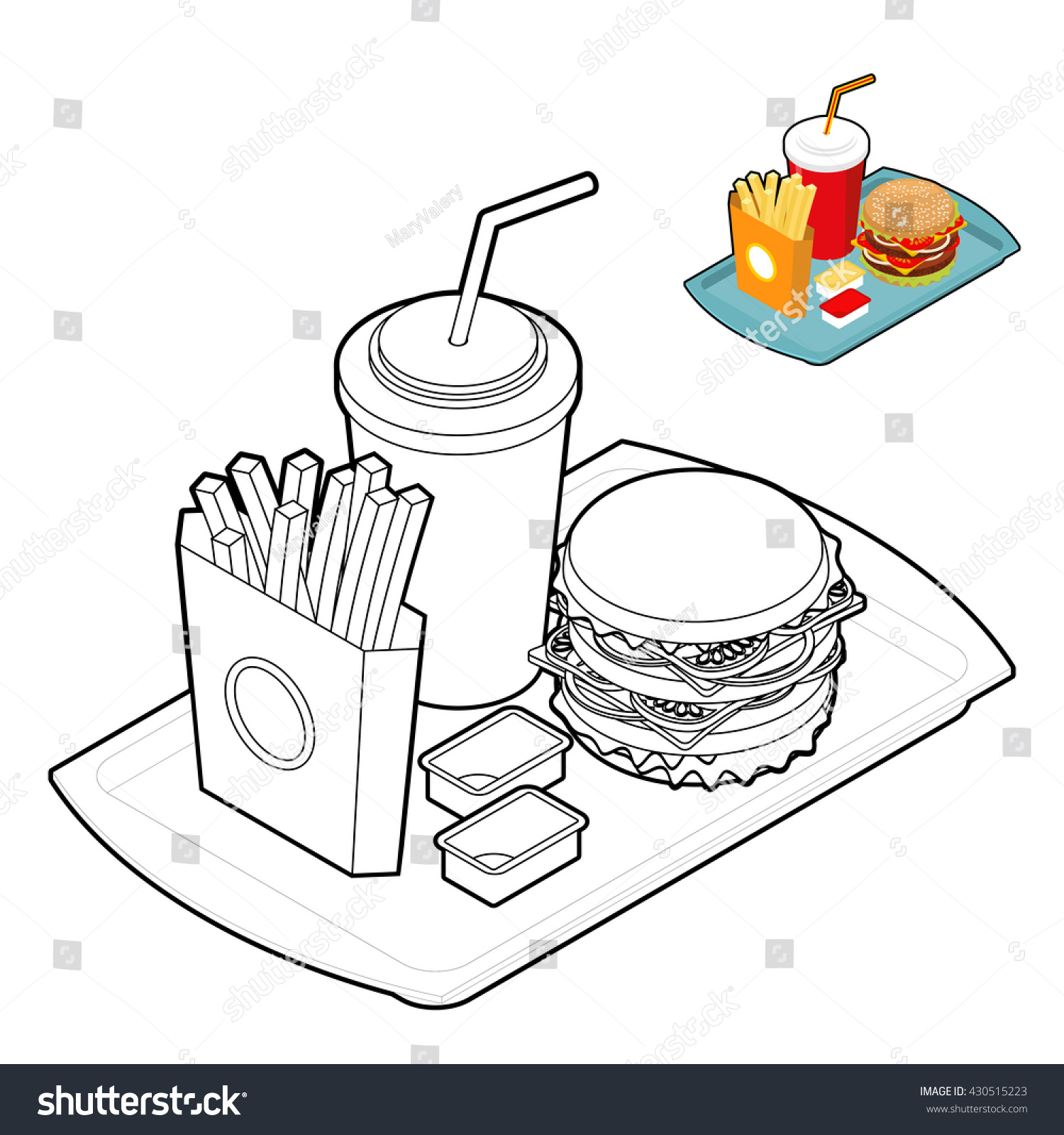 Fast Food Coloring Book Food Linear Stock Vector