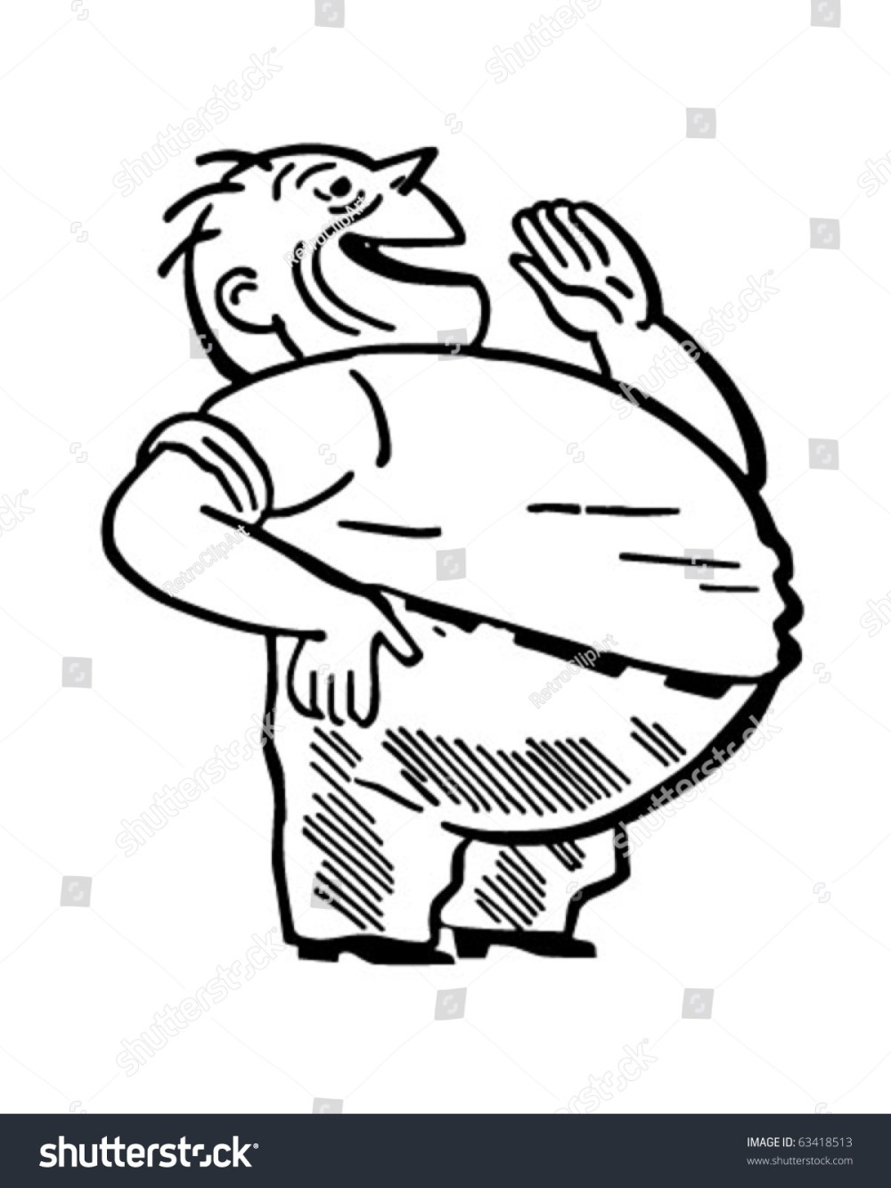 medium resolution of fat man laughing retro clipart illustration