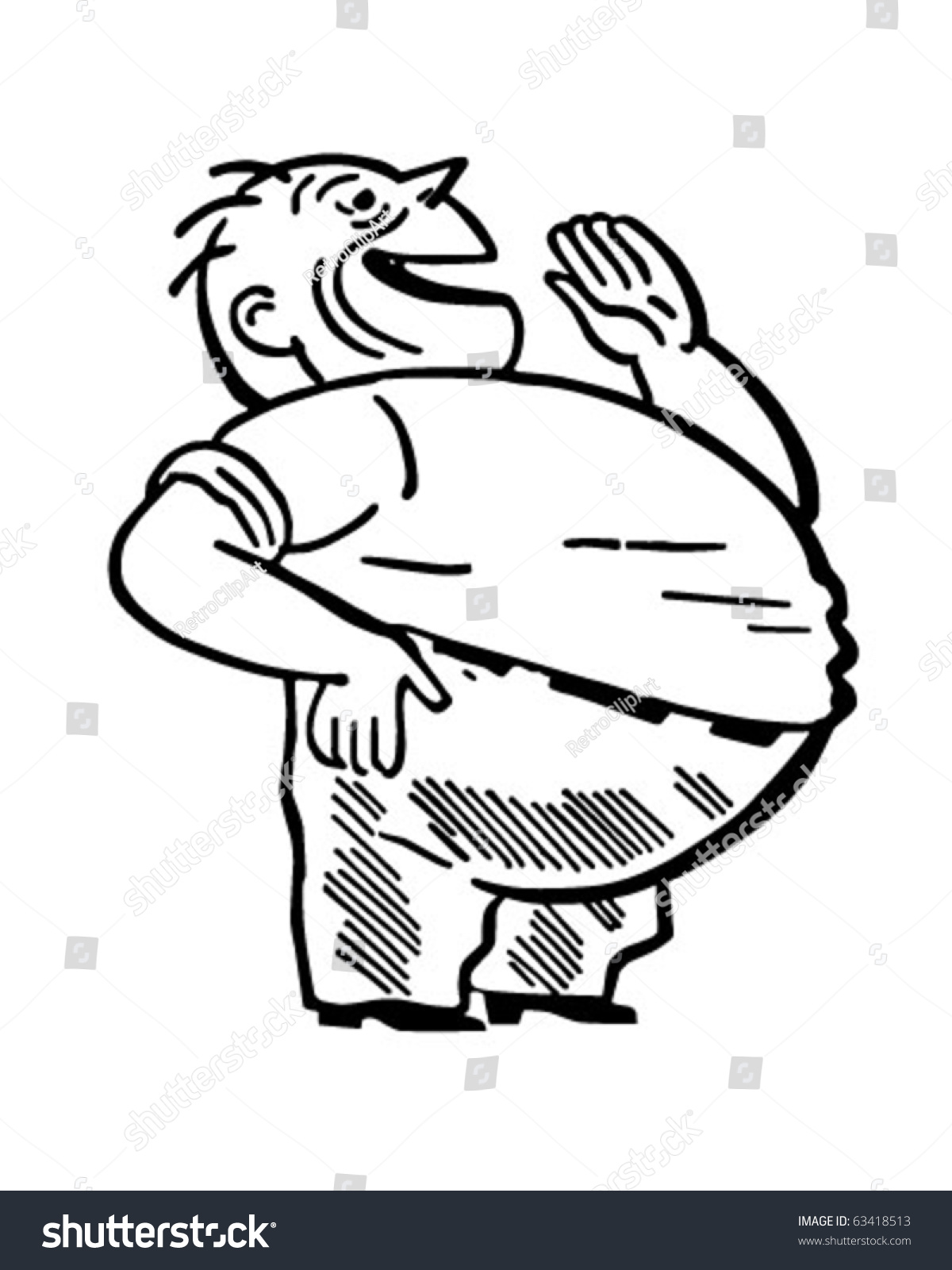 hight resolution of fat man laughing retro clipart illustration