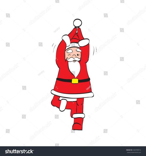 Father Christmas Santa Claus Yoga Stock Vector