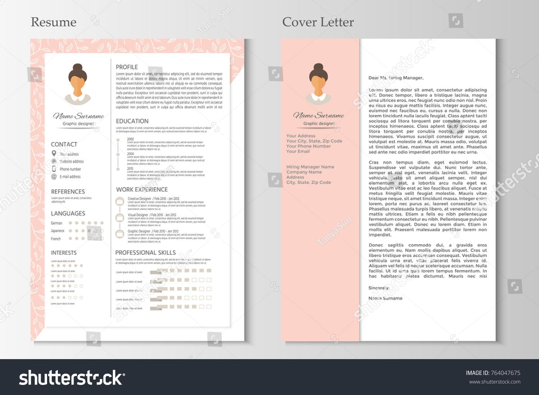 Feminine Resume Cover Letter Infographic Design Stock Vector Hd