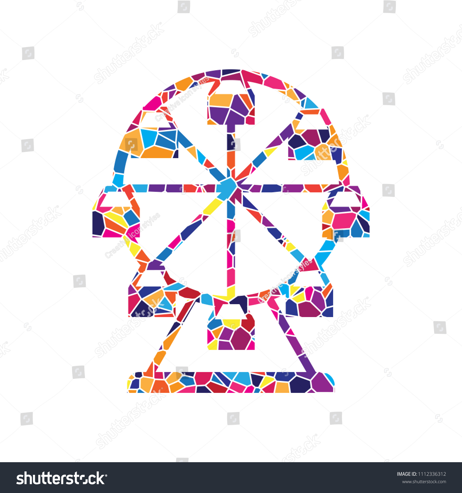 hight resolution of stained glass icon on white background colorful polygons isolated