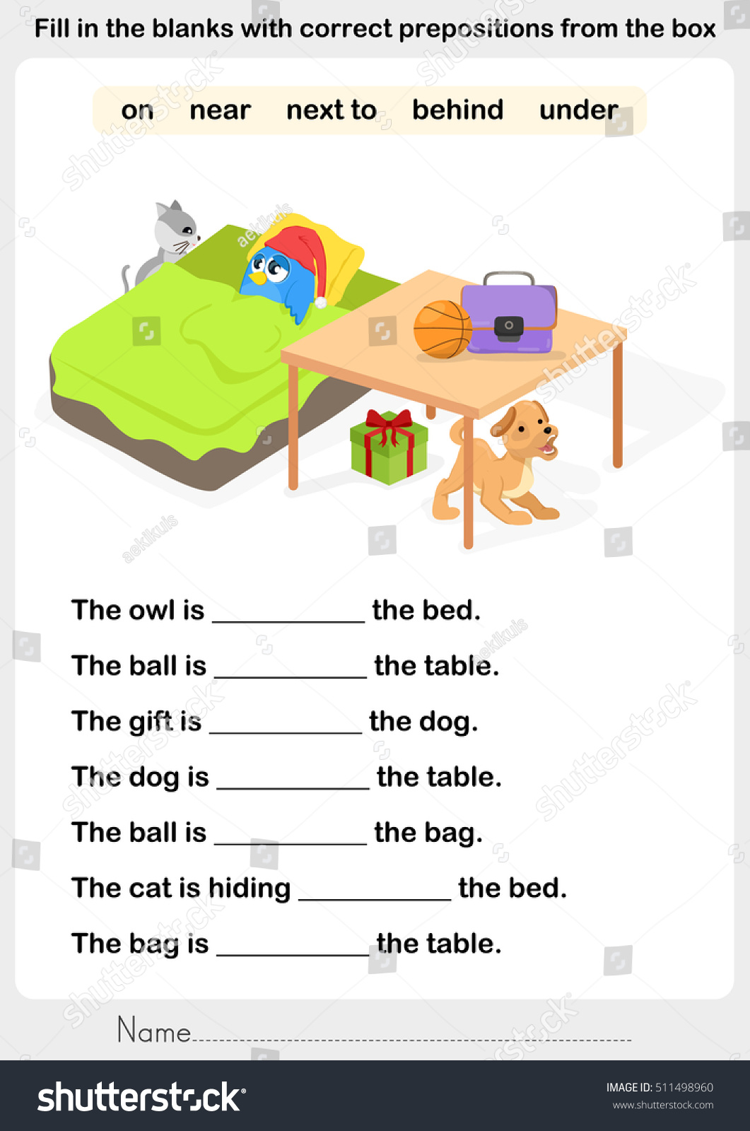 Fill Blanks Correct Prepositions Preposition Worksheet
