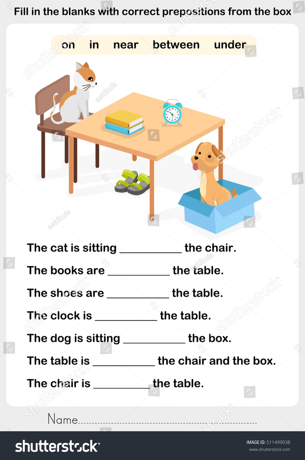 Easy Preposition Worksheet