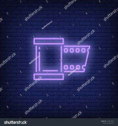 film strip neon sign luminous signboard with roll film night bright advertisement vector [ 1500 x 1600 Pixel ]