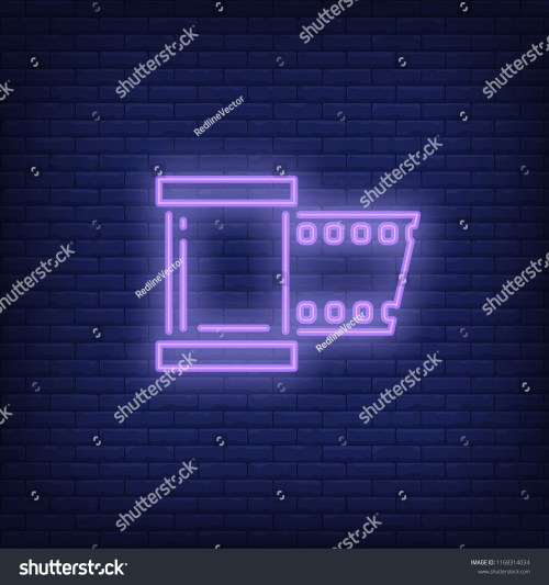 small resolution of film strip neon sign luminous signboard with roll film night bright advertisement vector
