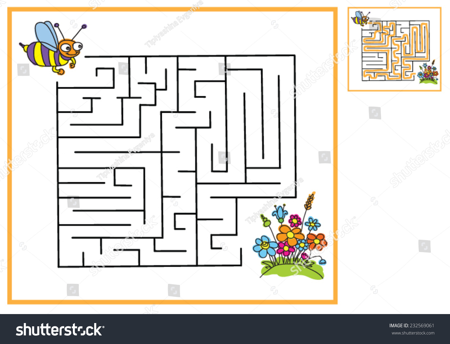 Find Way Bees Flowers Maze Game Stock Vector