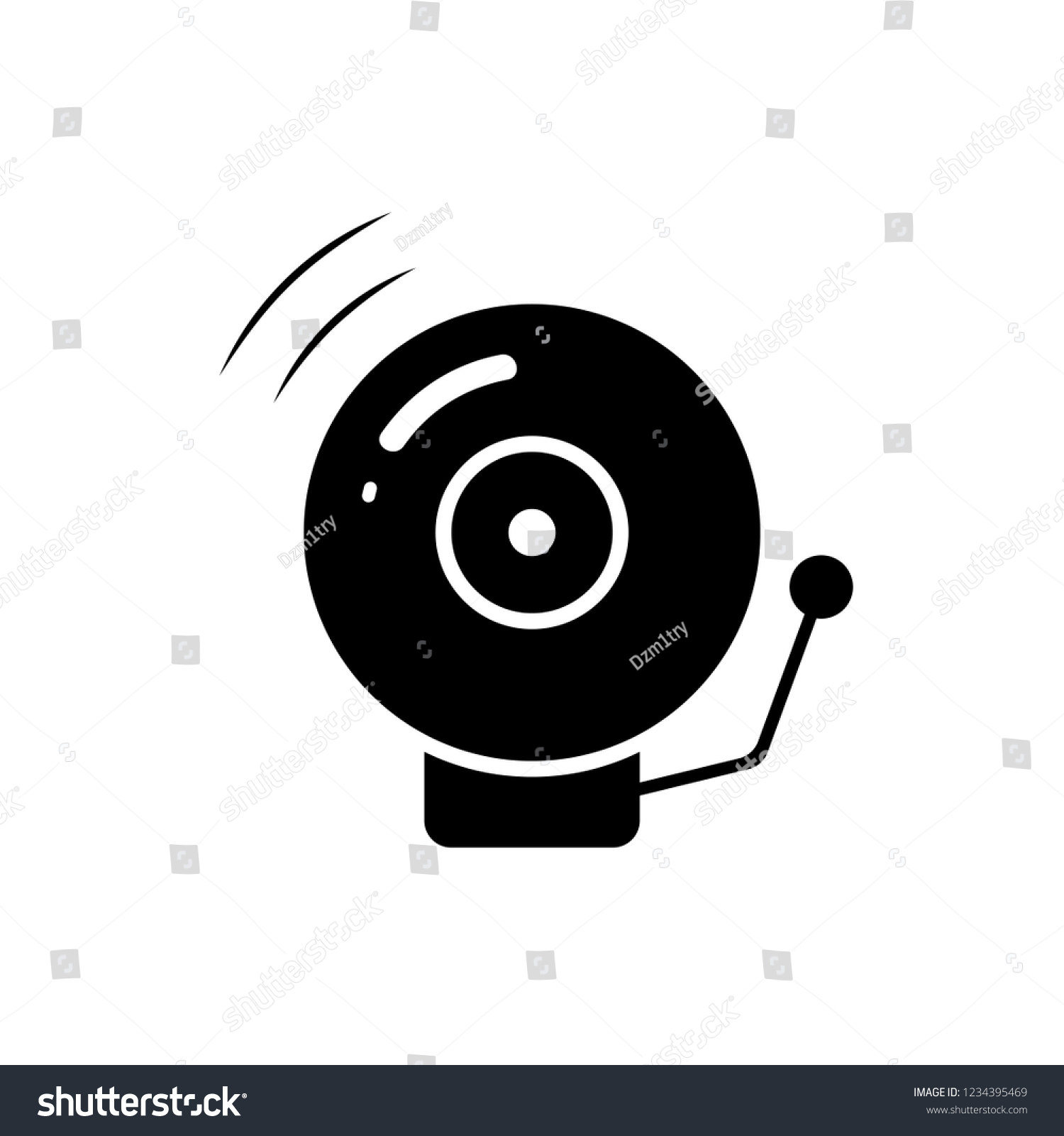 hight resolution of fire alarm bell silhouette icon clipart image isolated on white background