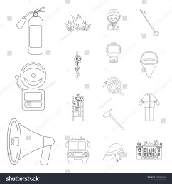fire department outline icons in set collection for design firefighters and equipment vector symbol stock [ 1500 x 1600 Pixel ]