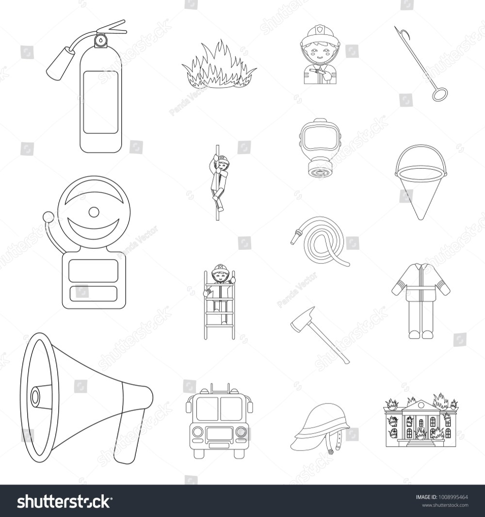 medium resolution of fire department outline icons in set collection for design firefighters and equipment vector symbol stock