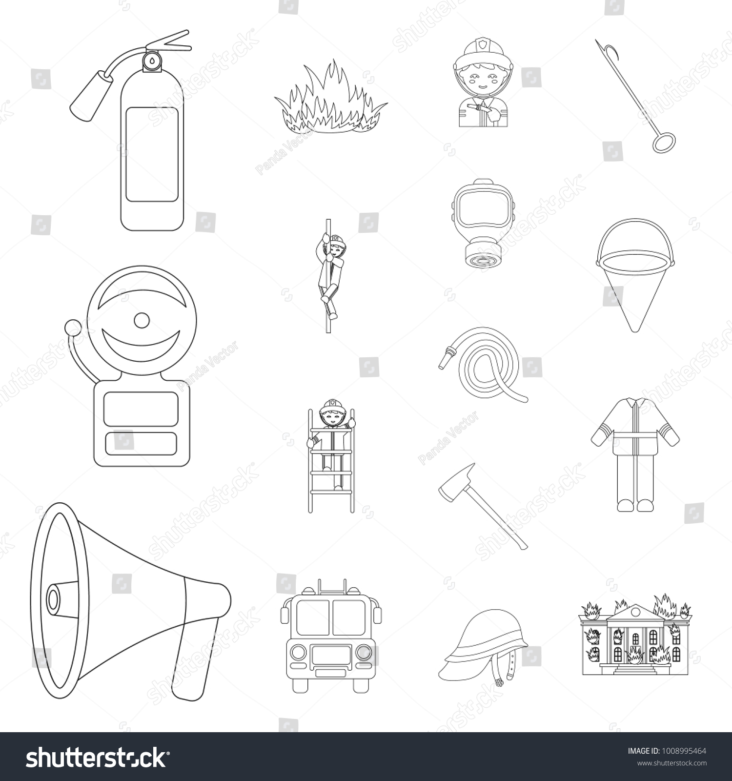 hight resolution of fire department outline icons in set collection for design firefighters and equipment vector symbol stock