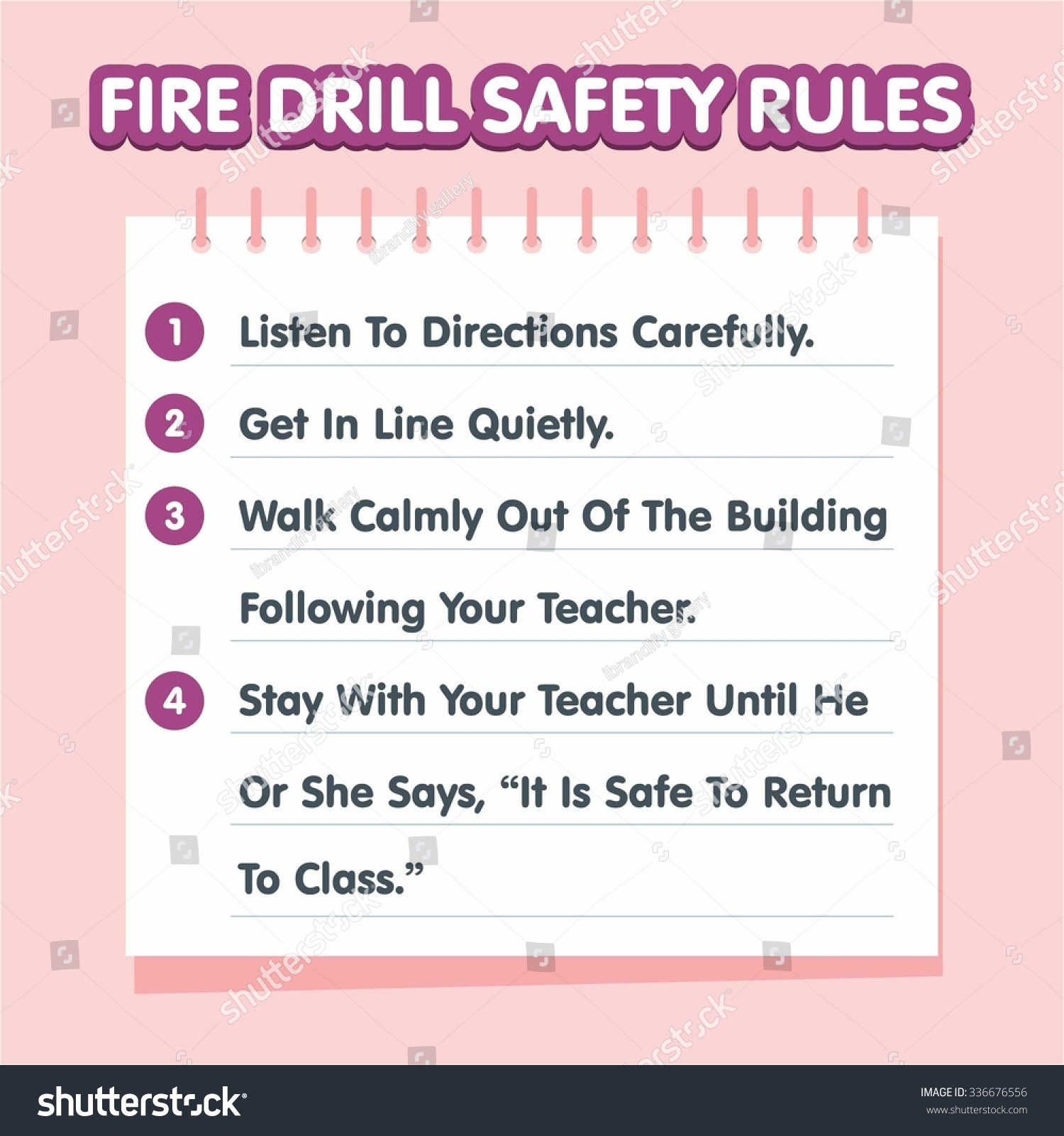 Fire Drill Safety Rules Sign Board Stock Vector