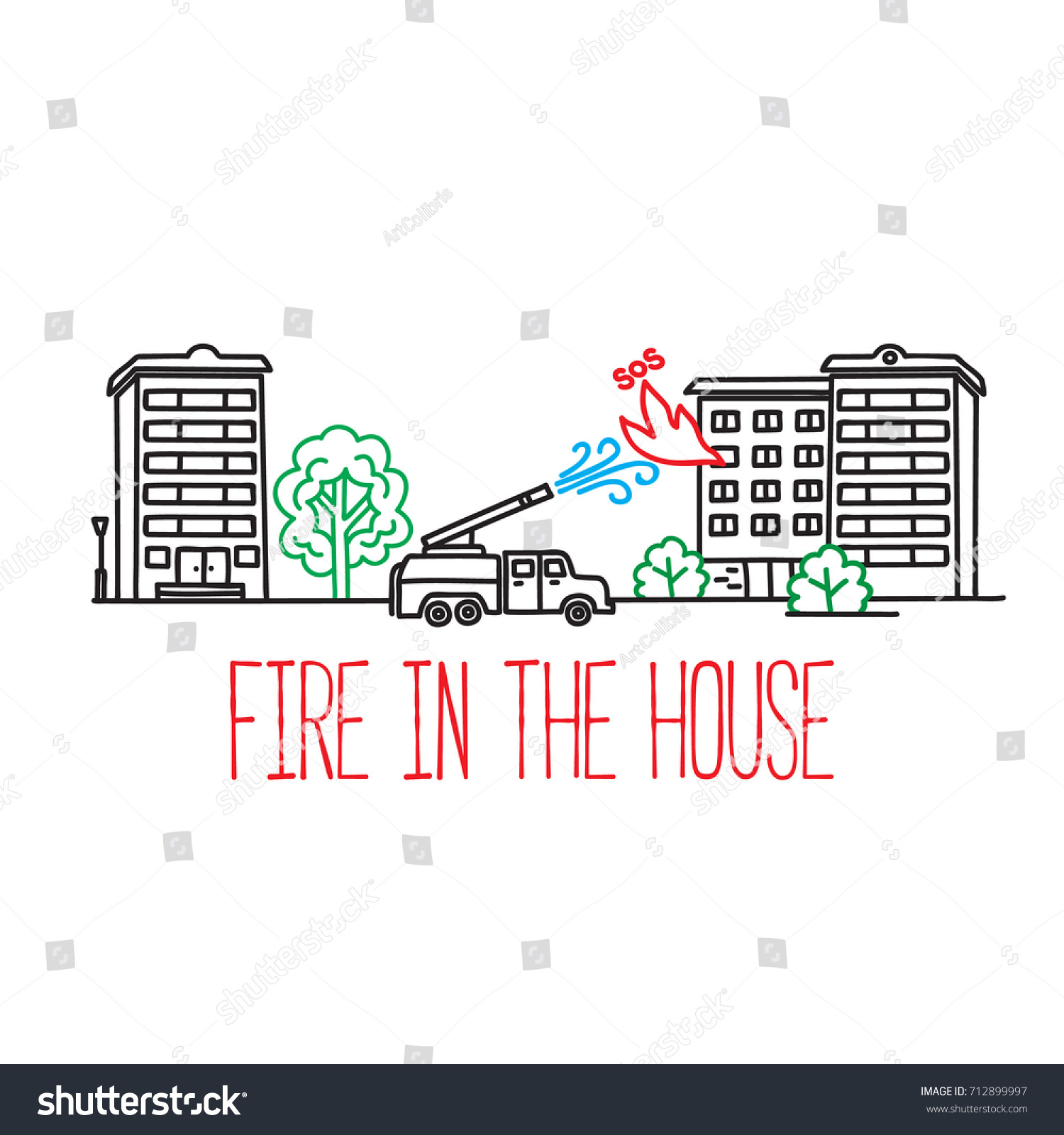 hight resolution of fire truck extinguishes an apartment building