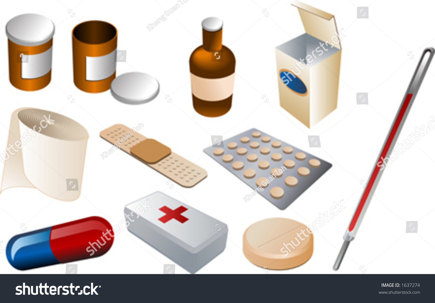 First Aid Kit Medical Supplies Isomtric Stock Vector