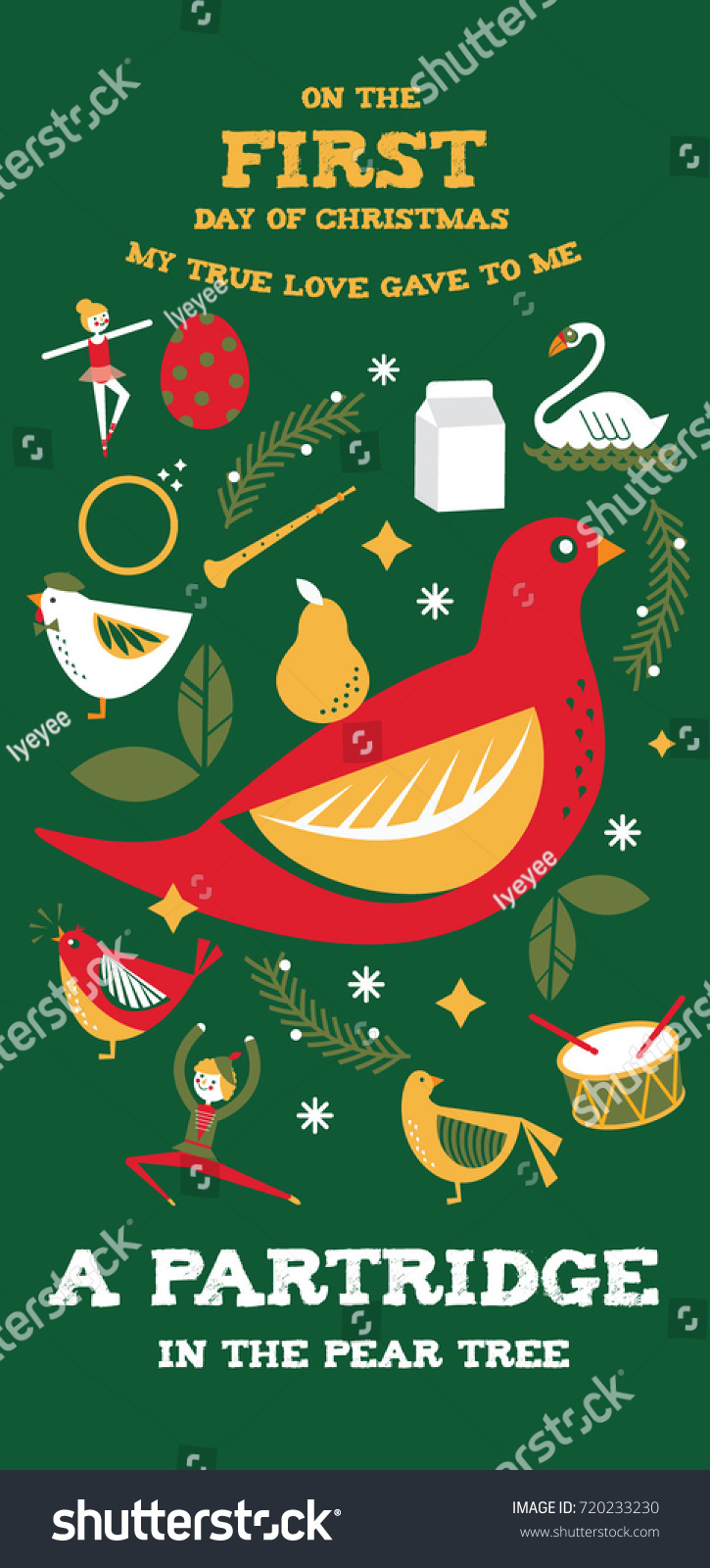 medium resolution of first day of christmas from the twelve days of christmas greetings template vector illustration