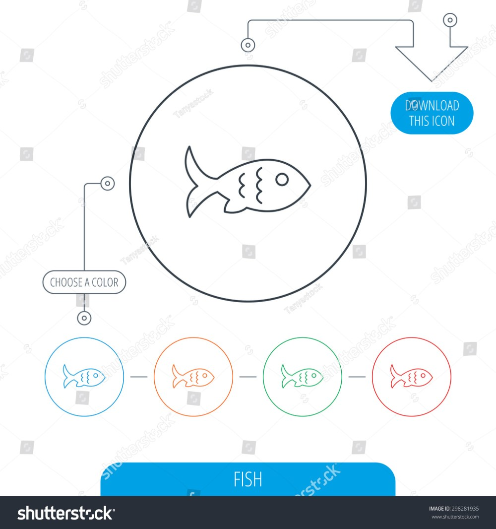 medium resolution of fish with fin and scales icon seafood sign vegetarian food symbol line circle