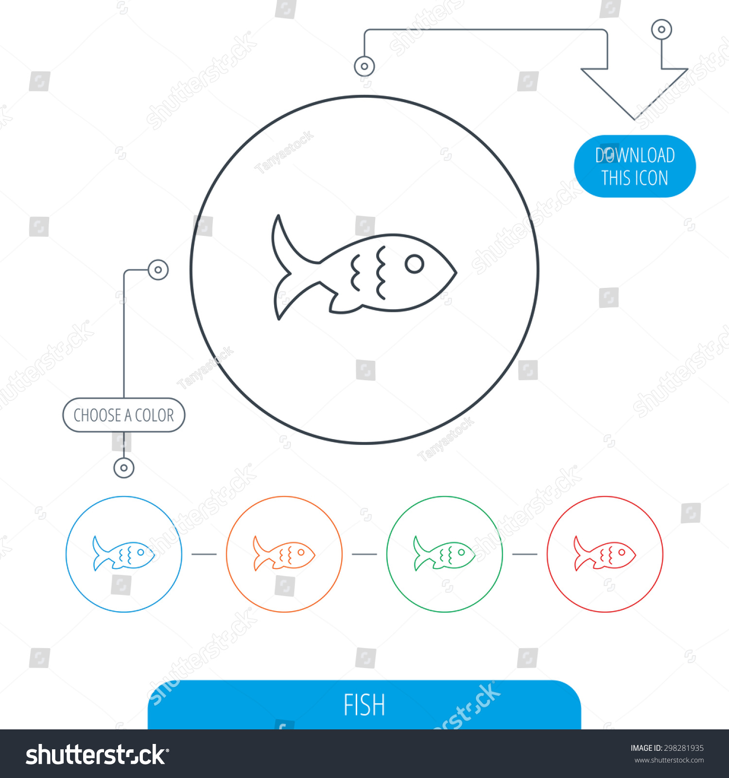 hight resolution of fish with fin and scales icon seafood sign vegetarian food symbol line circle