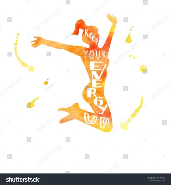 Fitness Illustration Silhouette Jumping Woman Hand Stock