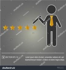 Five Star Rating Businessman Vector Illustration Stock