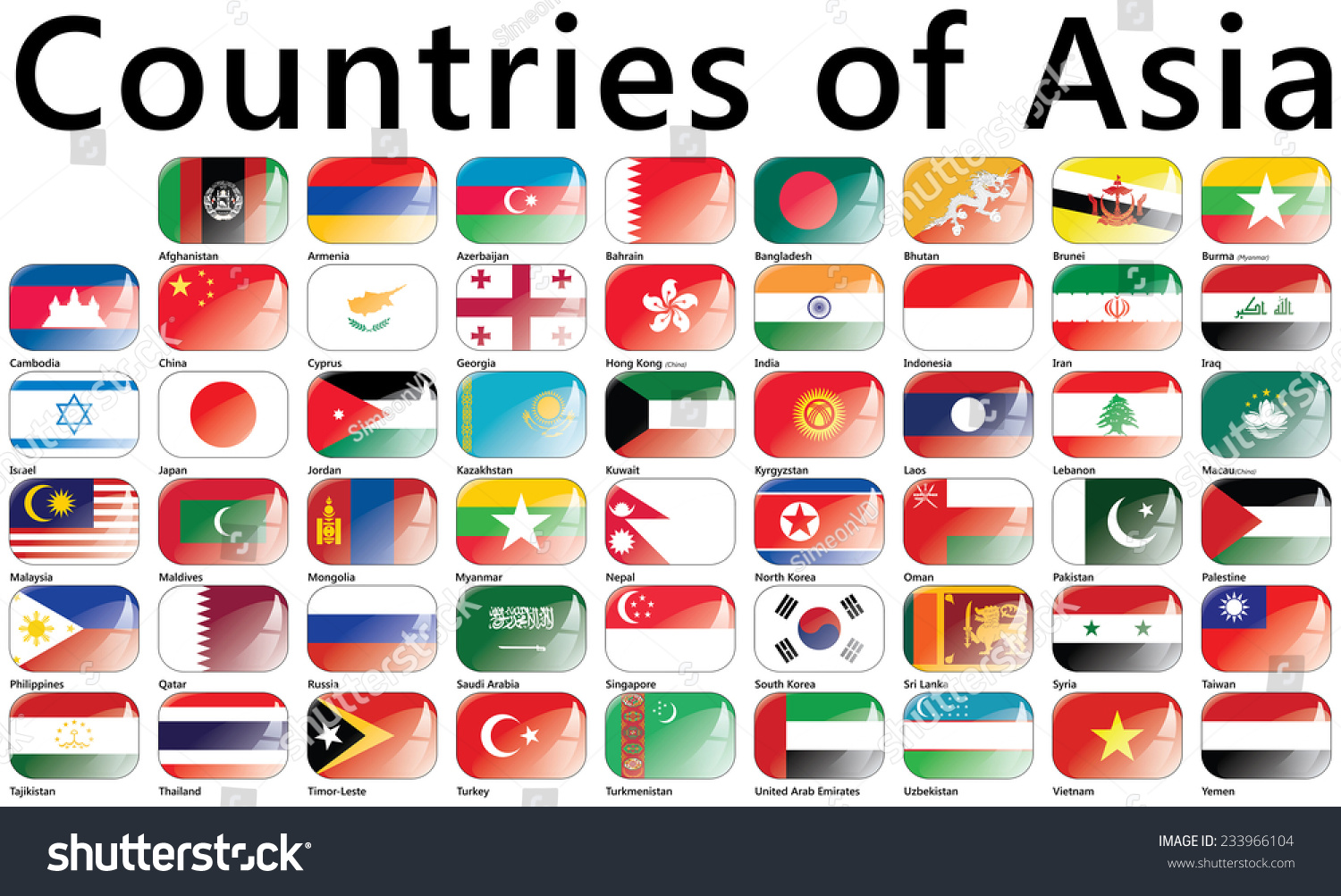 Flags Asia Countries Asia National Flags Stock Vector