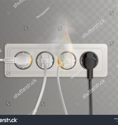 flaming power plugs in horizontal electrical socket realistic vector illustration isolated on transparent background short  [ 1500 x 1225 Pixel ]