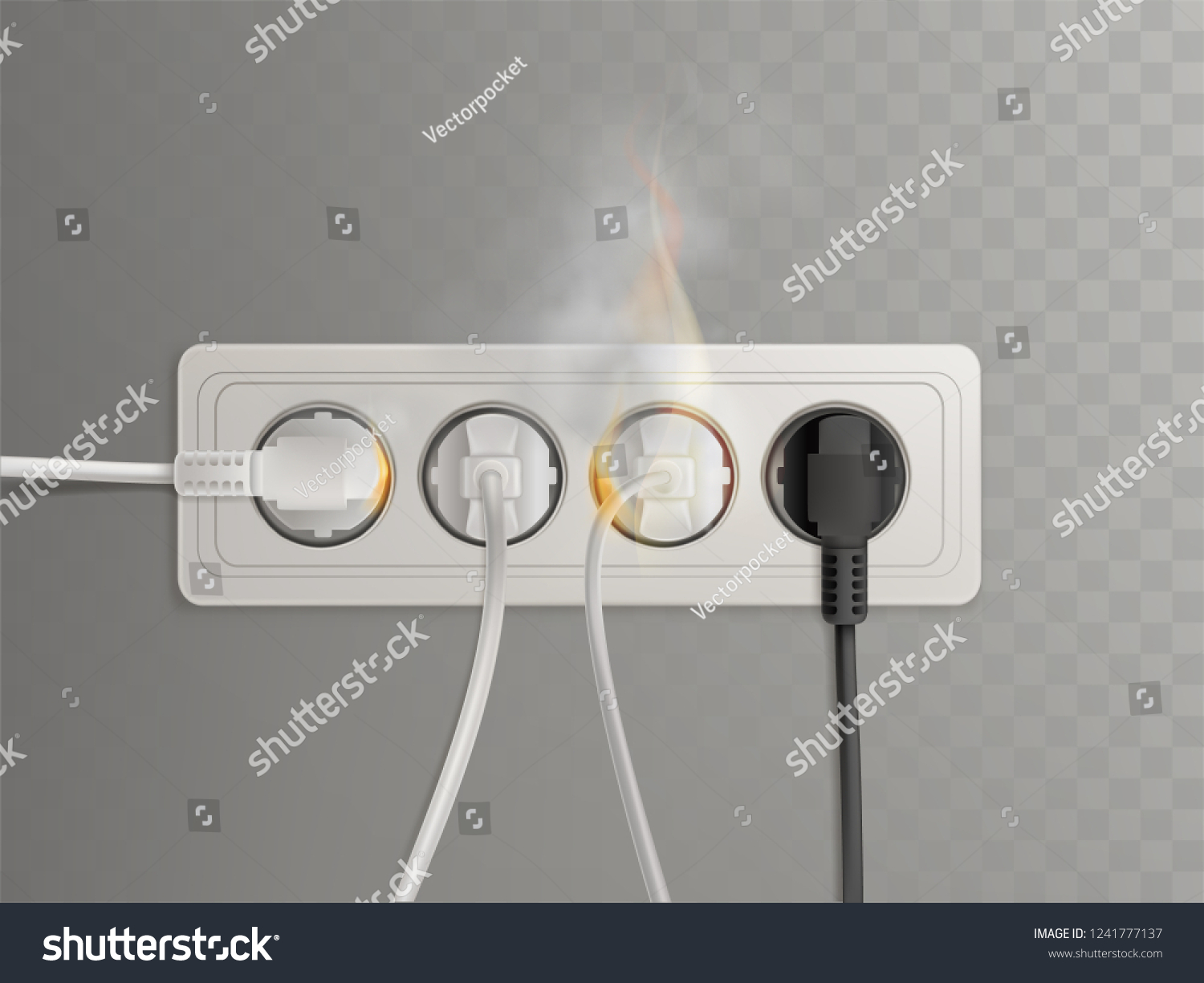hight resolution of flaming power plugs in horizontal electrical socket realistic vector illustration isolated on transparent background short