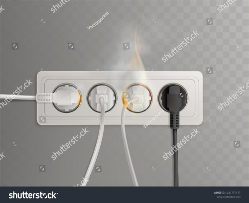 small resolution of flaming power plugs in horizontal electrical socket realistic vector illustration isolated on transparent background short