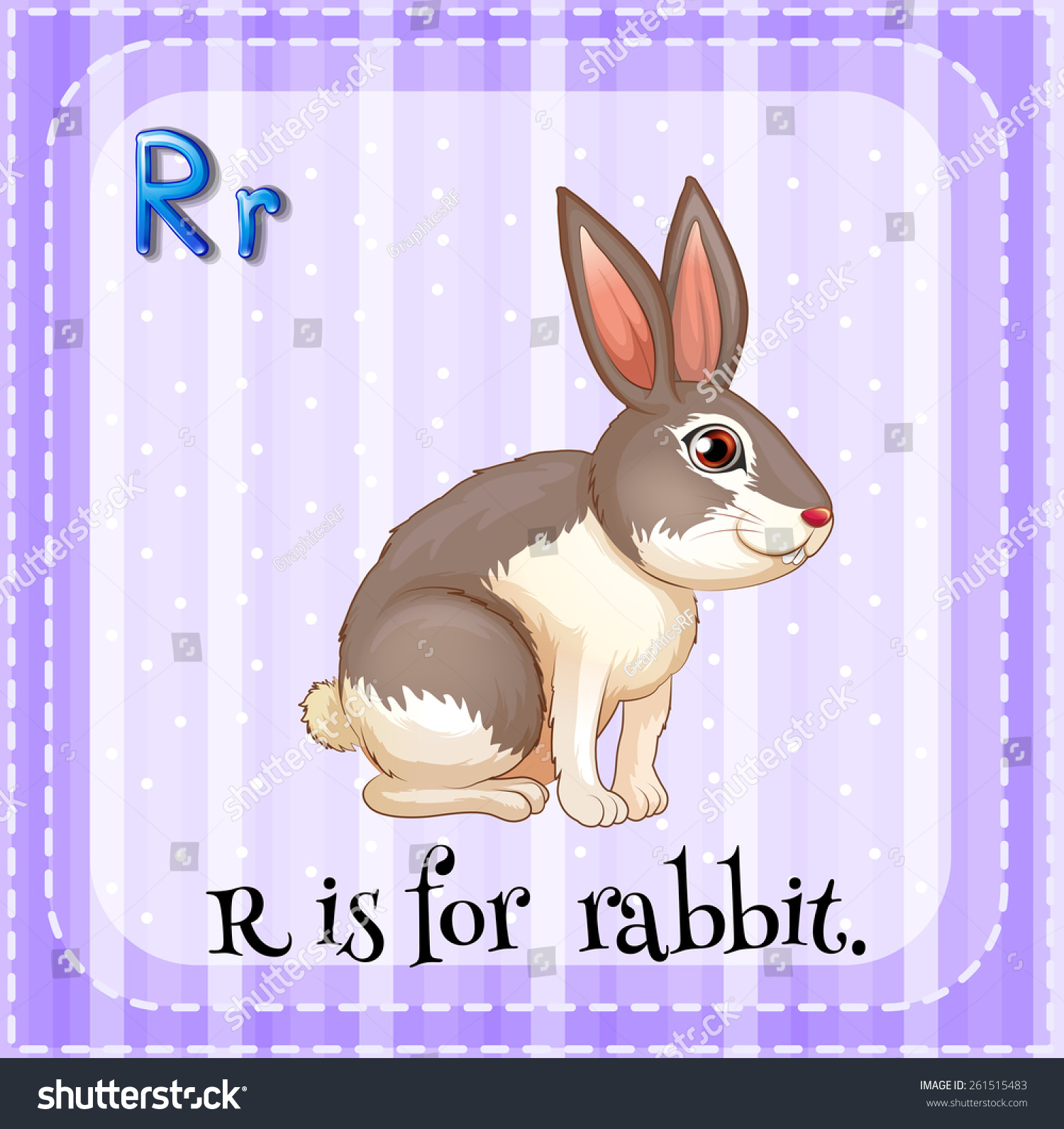 Flash Card Letter R Is For Rabbit Stock Vector
