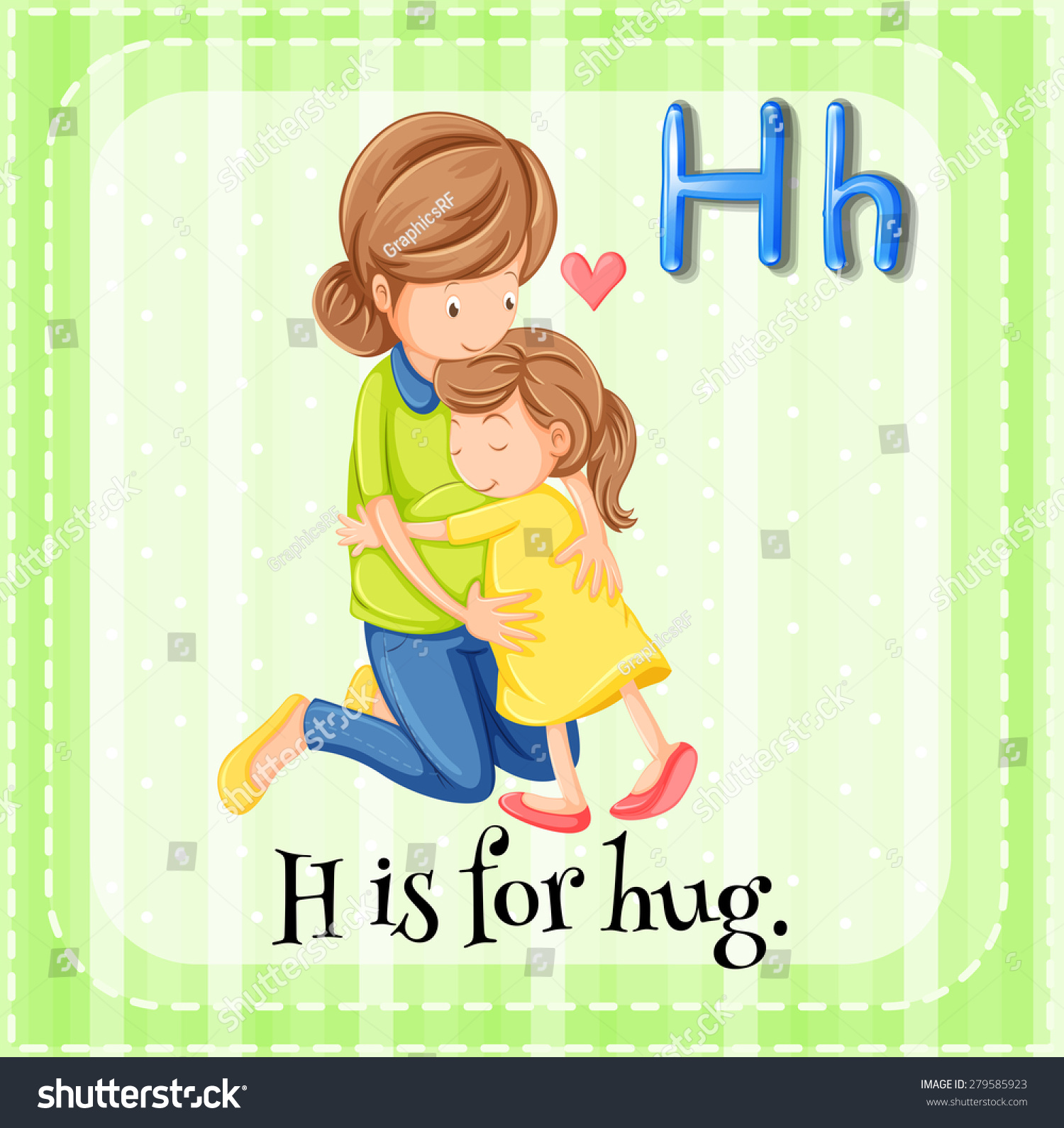 Flashcard Alphabet H Is For Hug Stock Vector Illustration