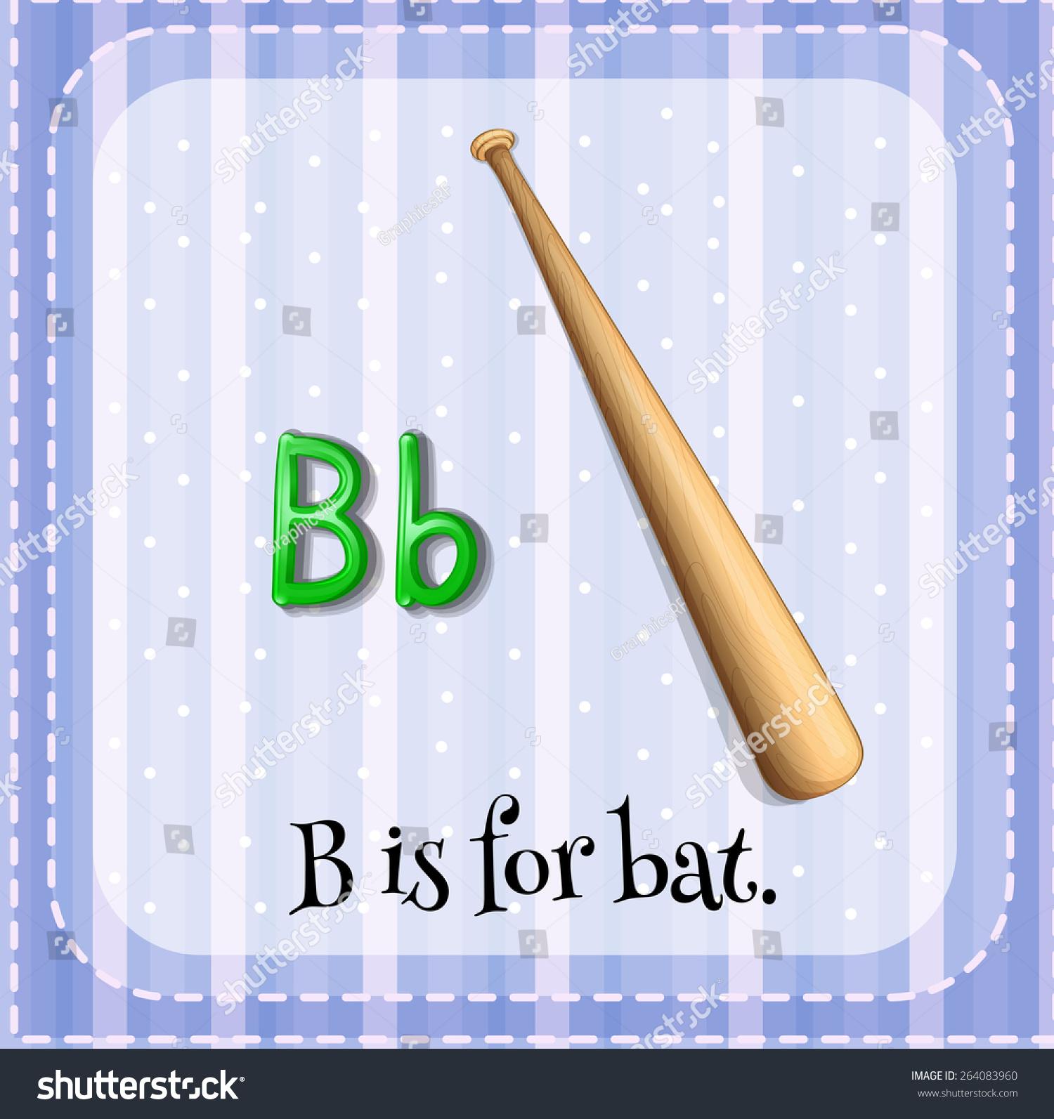 Flashcard Letter B Bat Stock Vector