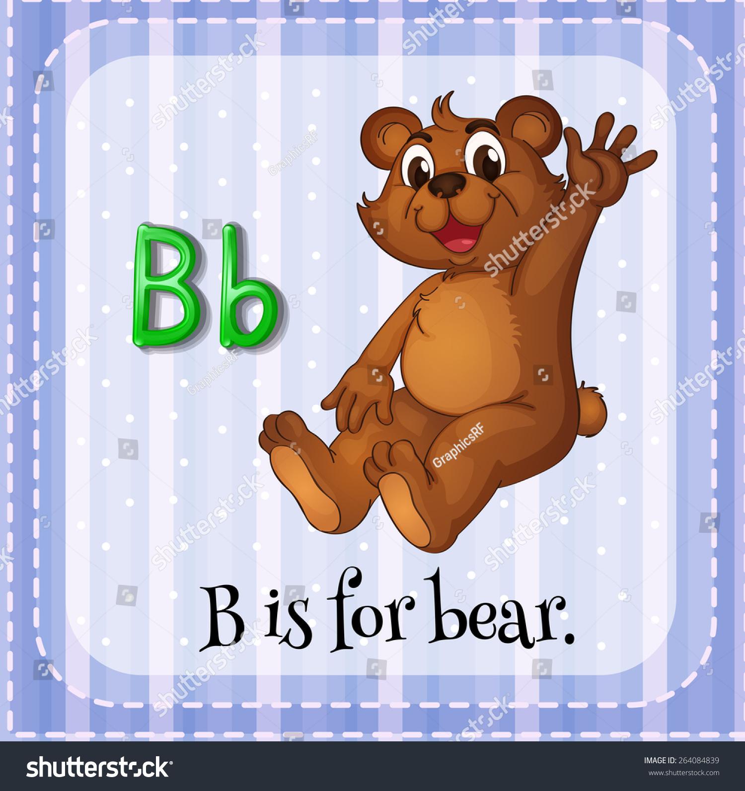 Flashcard Letter B Bear Stock Vector