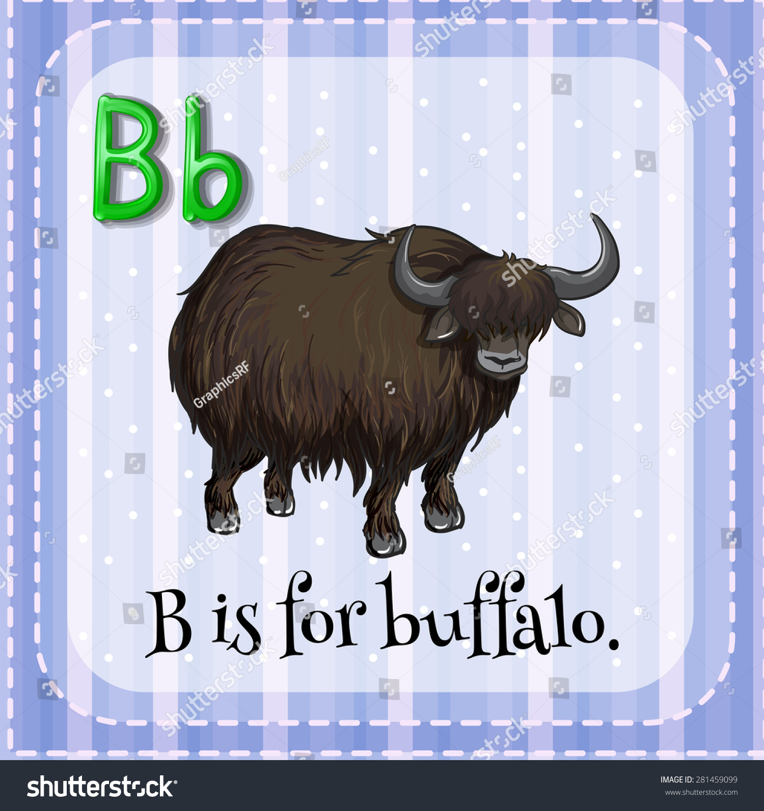 Flashcard Letter B Is For Buffalo Stock Vector