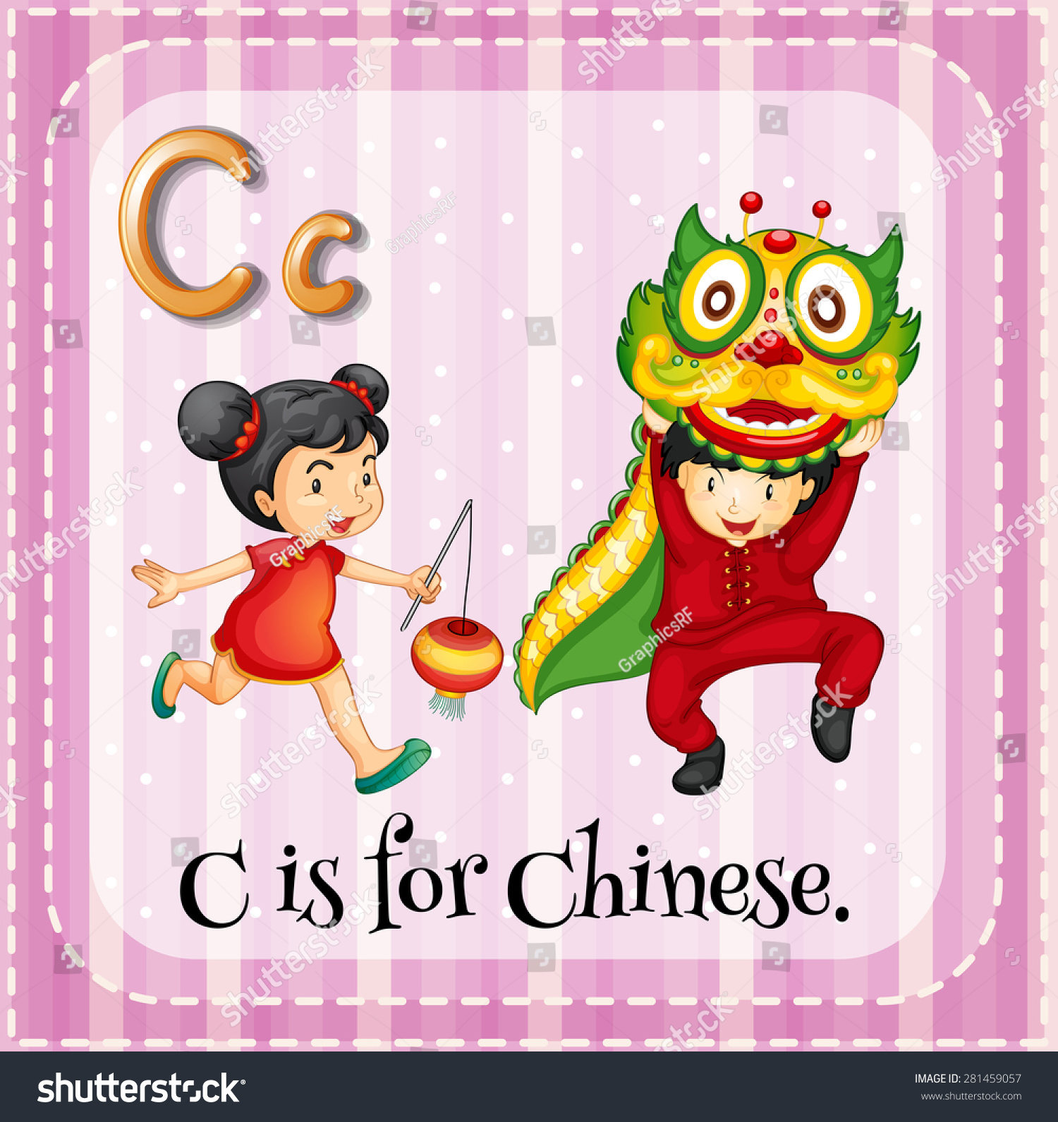 Flashcard Letter C Is For Chinese Stock Vector Illustration Shutterstock