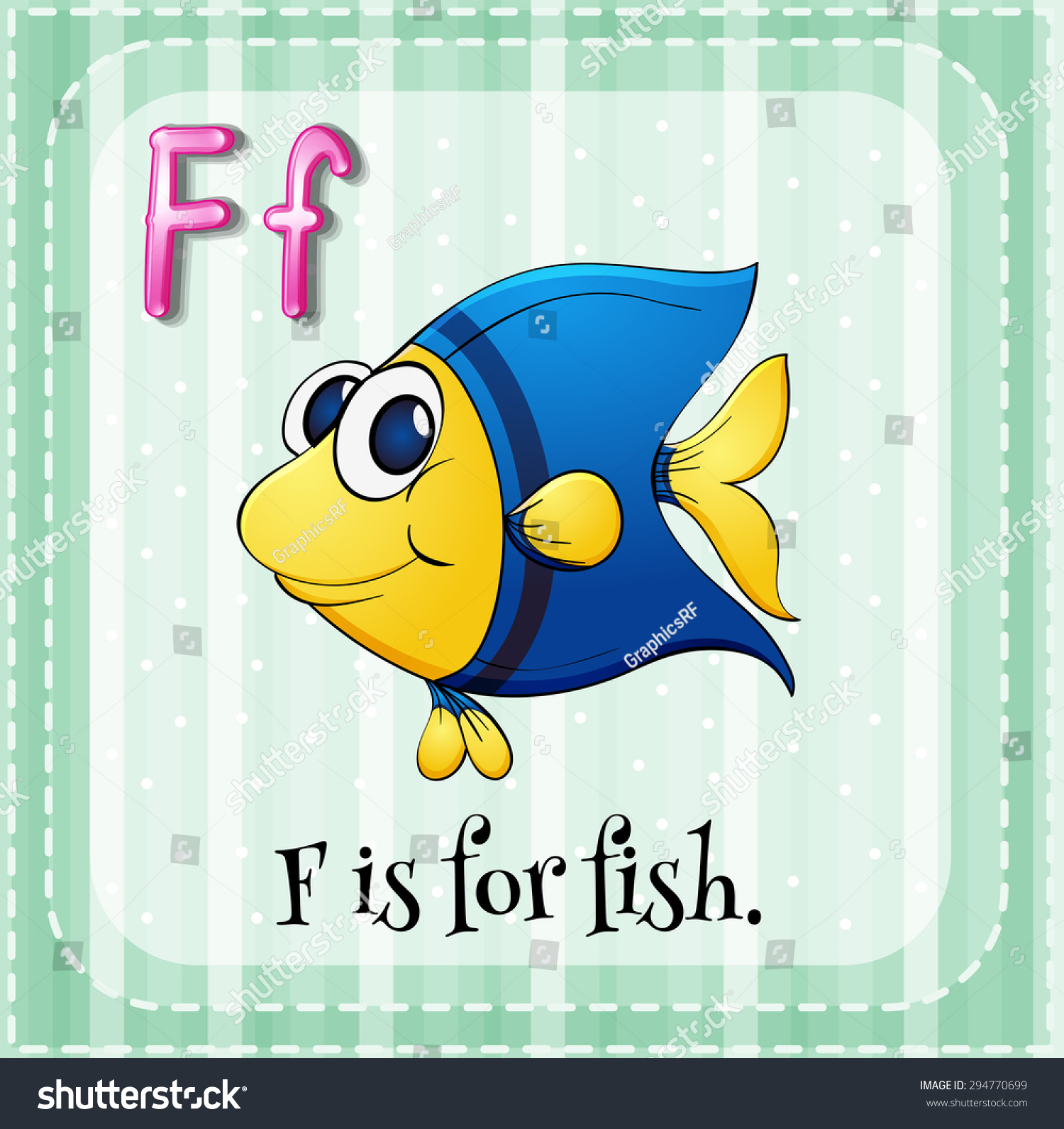 Flashcard Letter F Fish Stock Vector