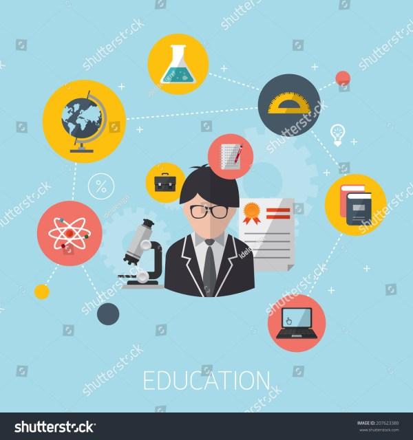 Flat Design Concept Icons Education Modern Stock Vector