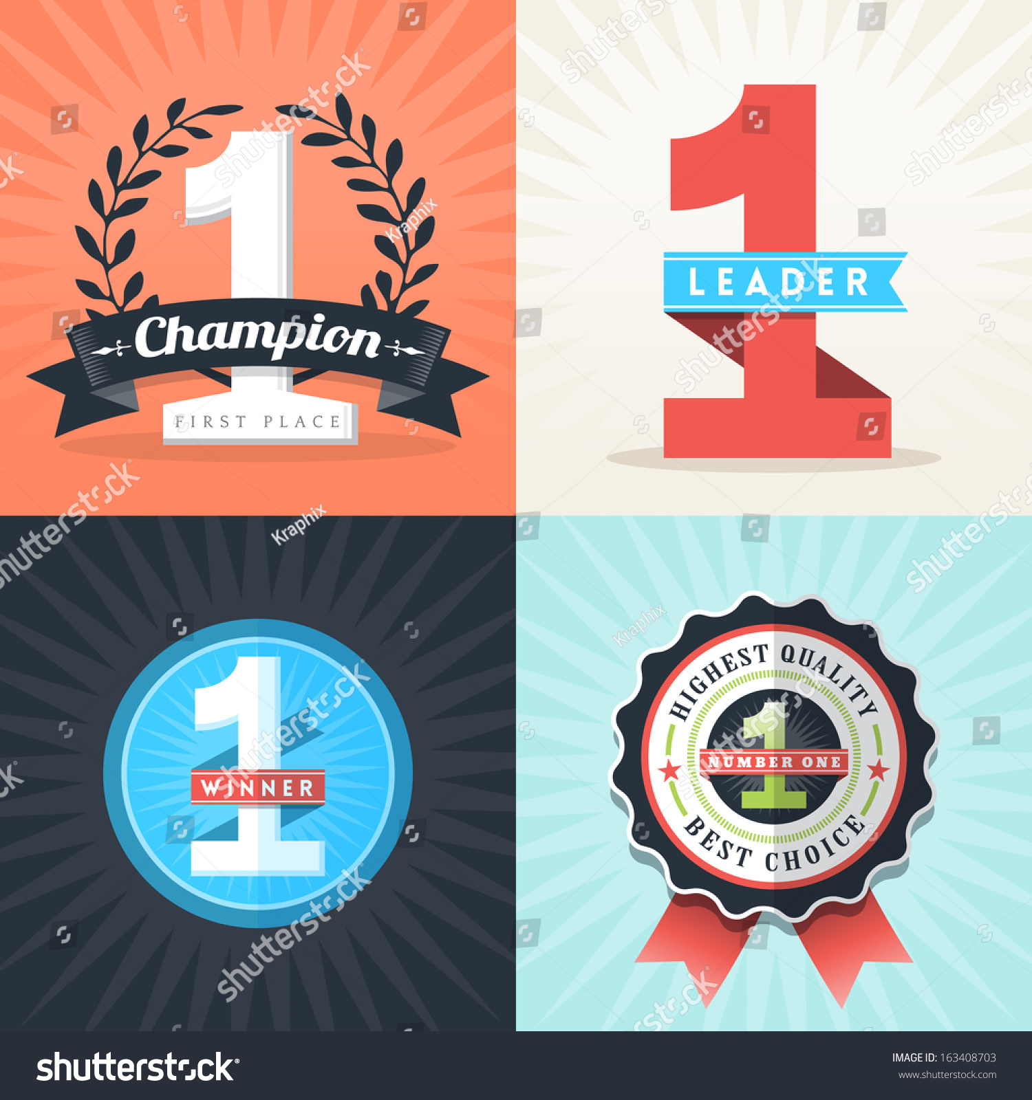 Flat Design Number One First Place Winner Ribbons And